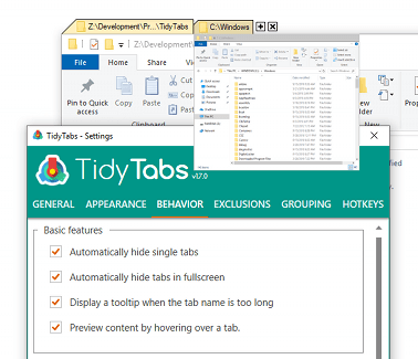 TidyTabs - Keyboard shortcuts