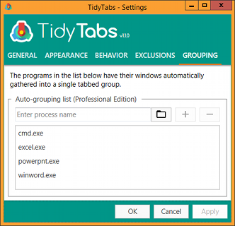 TidyTabs - Window auto-grouping - settings